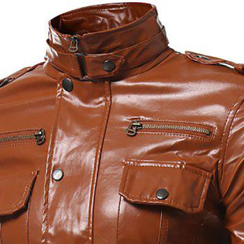 Epaulet Pockets Multiple Zippers Collar Locomotive Leather Jacket - BROWN L