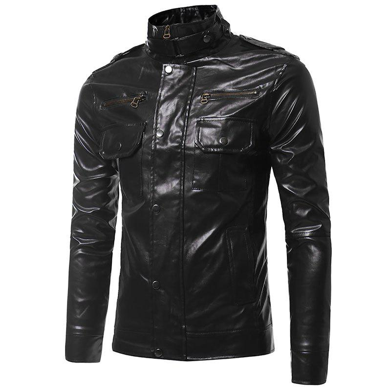 Epaulet Pockets Multiple Zippers Collar Locomotive Leather Jacket - BLACK L