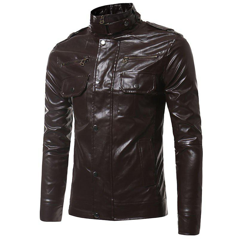 Epaulet Pockets Multiple Zippers Collar Locomotive Leather Jacket - PUCE M
