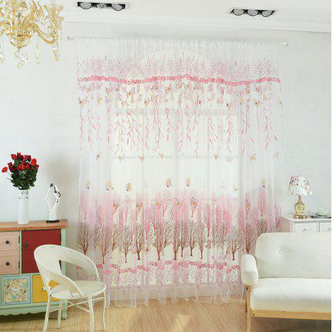 Willow Leaf Butterfly Glass Curtain Window Screen - PEARL 100X199CM