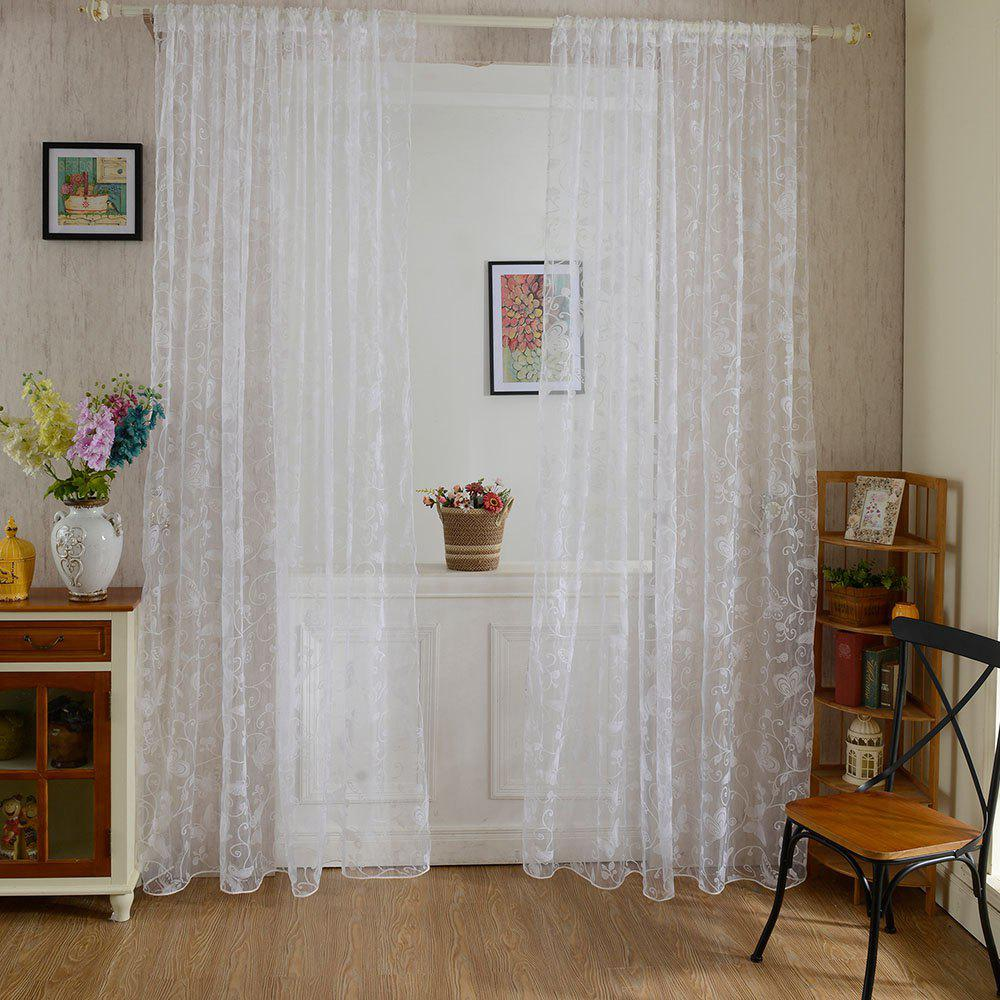 Multicolored Butterfly Flock Curtain Window Screen - WHITE 100X199CM