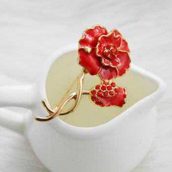 Wedding Red Poppy Flower Brooch Pins Fashion Jewelry  Enamel Brooches for Women - RED