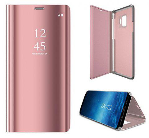 for Galaxy S9 Case Translucent View Mirror Flip Electroplate Stand - PINK