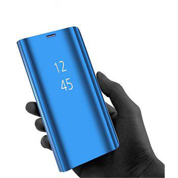 for Galaxy S9 Case Translucent View Mirror Flip Electroplate Stand - BLUE