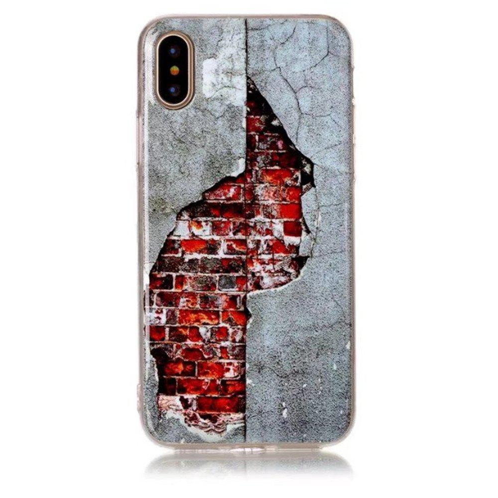 Perfect Fitted Beautiful Red Wall TPU Case for iphone X - GRAY