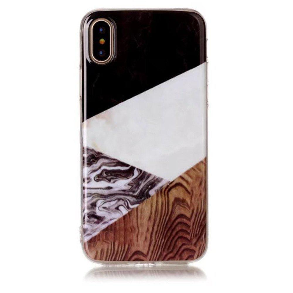 Perfect Fitted Beautiful Marble Grain TPU Case for iphone X - BROWN