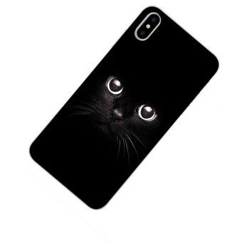 Perfect Fitted Beautiful Black Cat TPU Case for iphone X - BLACK