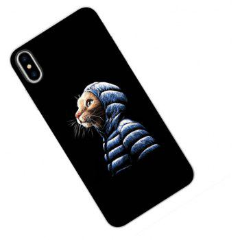 Perfect Fitted Beautiful Black Lonely Cat TPU Case for iphone X - BLACK