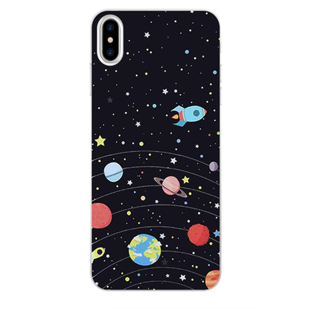 Perfect Fitted Beautiful Black Universe TPU Case for iphone X - BLACK