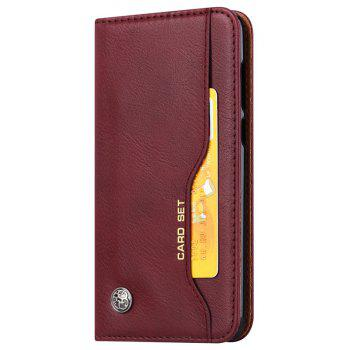 Premium Luxury  Wallet Case Cover for Huawei P Smart / Enjoy 7S  Flip Pu Leather - RED WINE