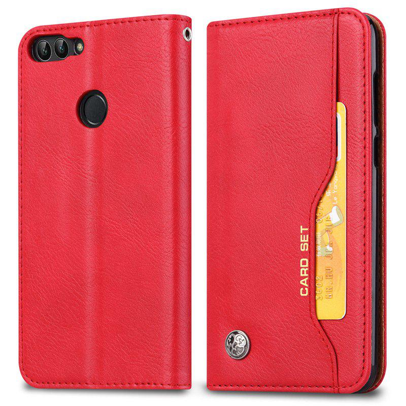 Premium Luxury  Wallet Case Cover for Huawei P Smart / Enjoy 7S  Flip Pu Leather - RED