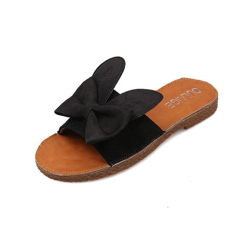 Toe All-match Butterfly Beach Slippers Word - BLACK 40