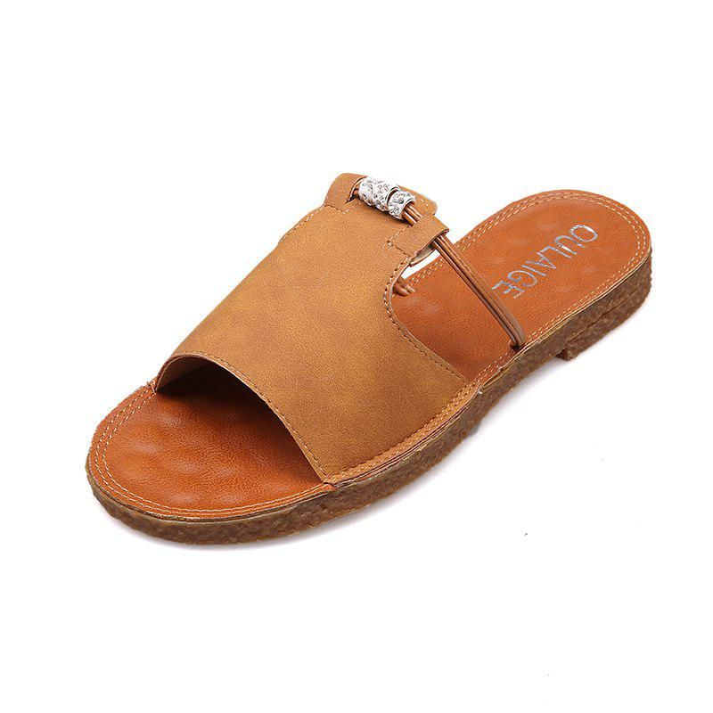 Casual All-match Toe Retro Slippers - LIGHT BROWN 37
