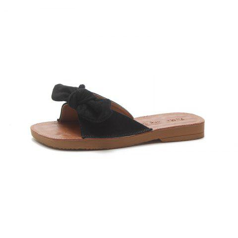 Flat Bottomed Toed Bow Tie Slippers - BLACK 37