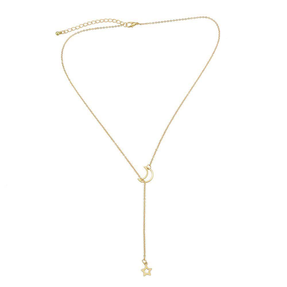 Chain Star Pendant Fashion Necklace - GOLDEN BROWN