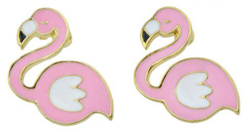 Pink White Enamel Flamingo Shape Earrings - PIG PINK