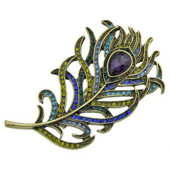 Colorful Rhinestone Stone Feather Shape Brooch - GREENISH BLUE