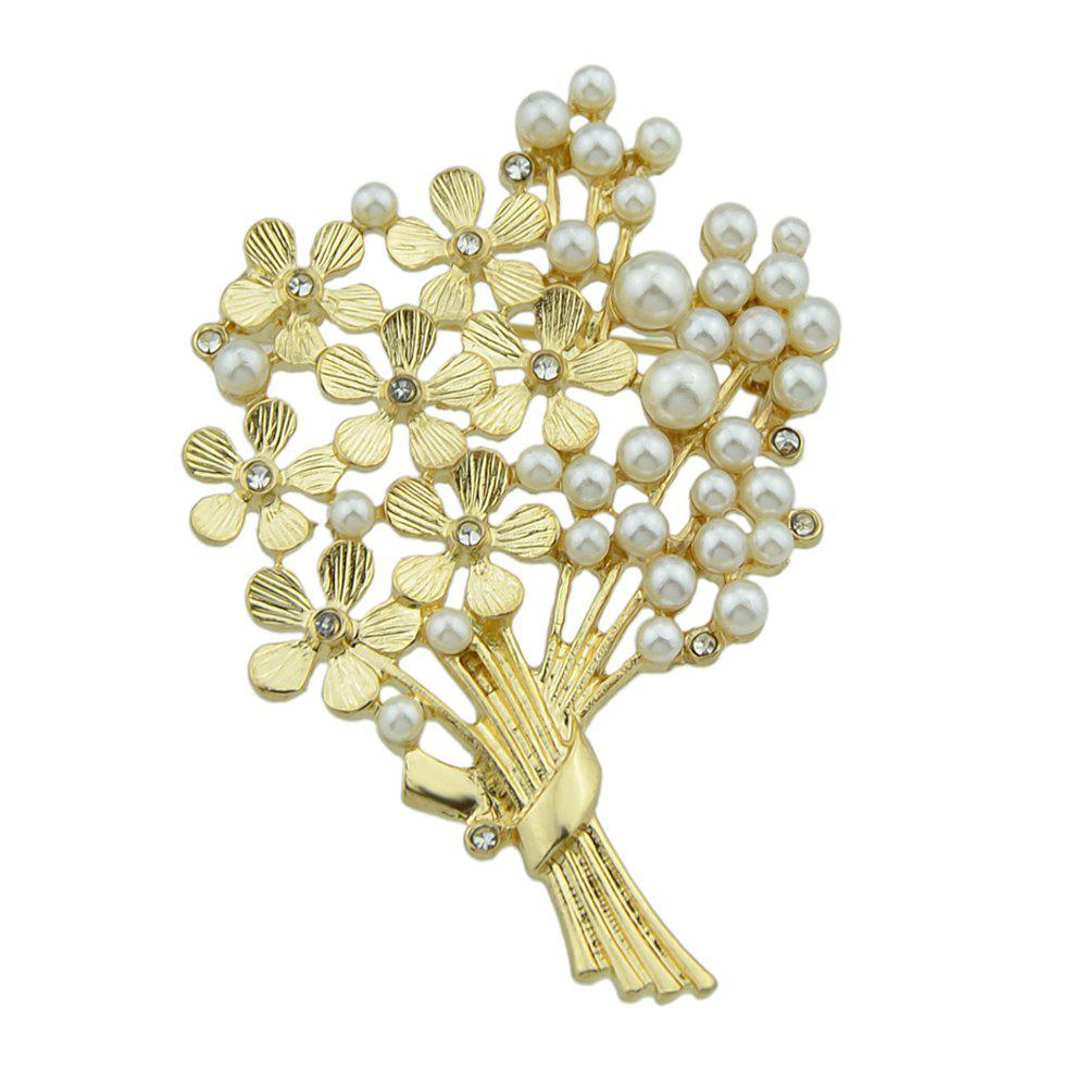 Simulated-pearl Flower Life Tree Shape Brooch - GOLD