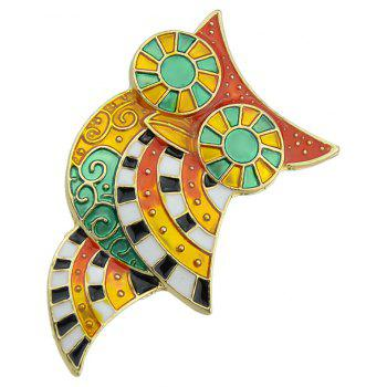 Colorful Enamel Lovely Owl Brooches for Women - multicolor A