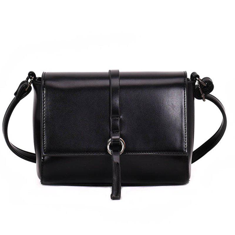 Simple All-match Shoulder Messenger Bag - BLACK
