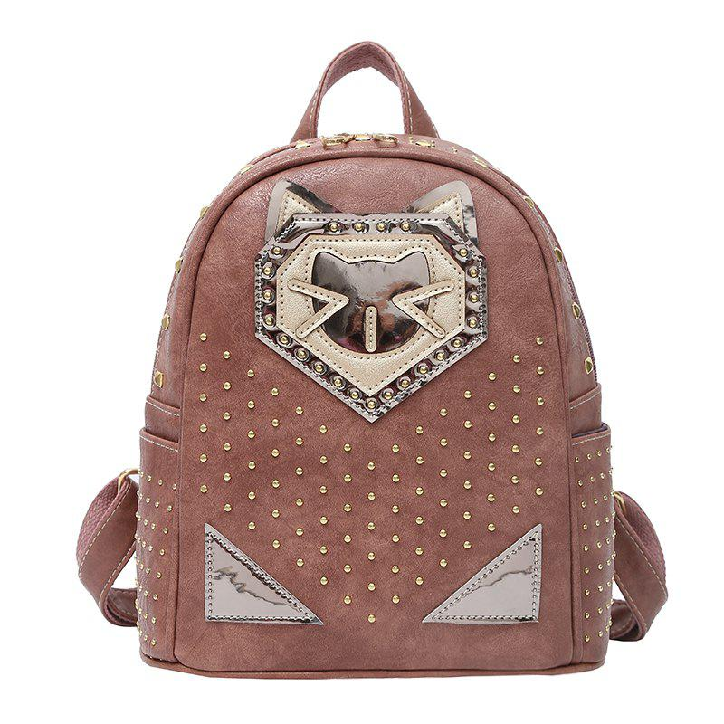Fashion Rivets Cartoon Travel Backpack - KHAKI ROSE