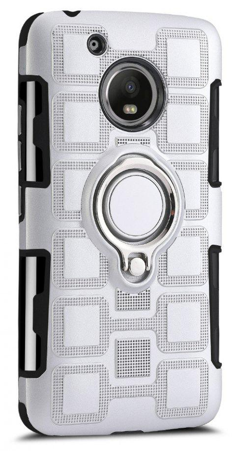 Cover Case for Moto G5 Ring Dual Heavy Duty PC TPU Resistent - SILVER