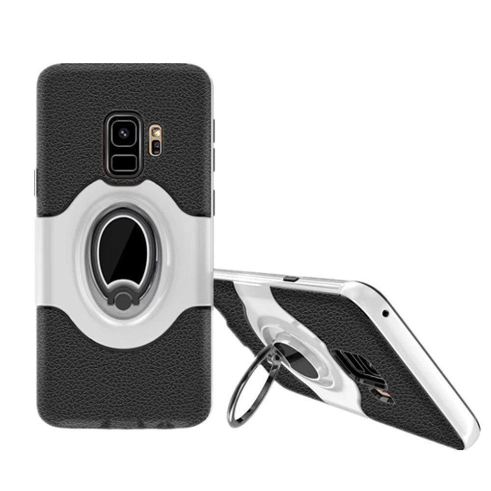Cover Case for Samsung S9 Stand Magnetic Suction Bracket Finger Ring Armor - WHITE