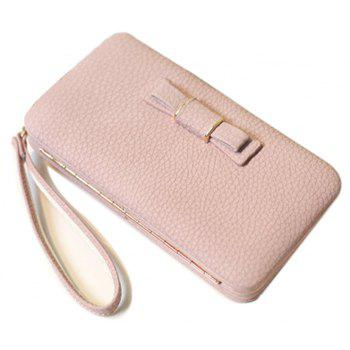 Women Long Leather Large Bow Wallet Sweet Style Clutch - PINK HORIZONTAL