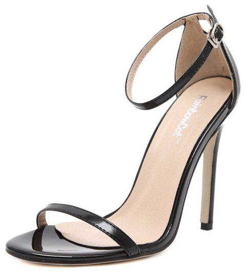Women Fashion Single Band Ankle Strap Open Toe Sandals - BLACK 40