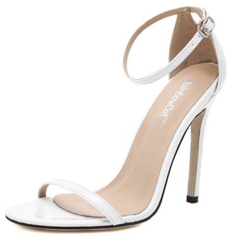 Femmes Mode Simple bande cheville Strap Open Toe Sandales - Blanc 38