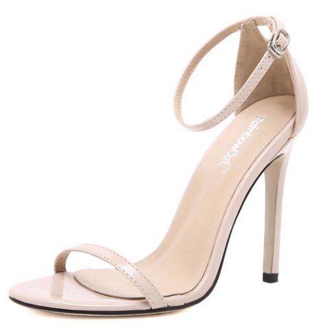 Women Fashion Single Band Ankle Strap Open Toe Sandals - APRICOT 38
