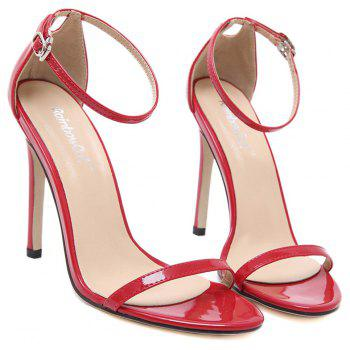 Women Fashion Single Band Ankle Strap Open Toe Sandals - RED 36