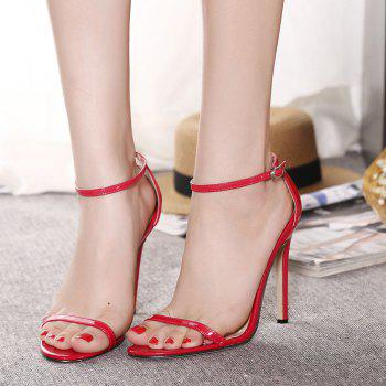 Women Fashion Single Band Ankle Strap Open Toe Sandals - RED 39