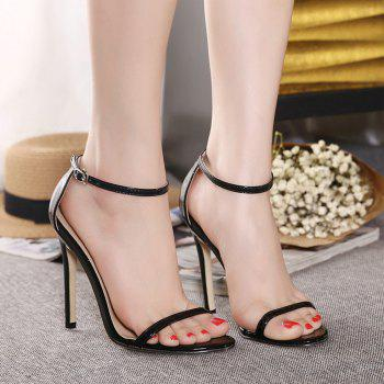 Women Fashion Single Band Ankle Strap Open Toe Sandals - BLACK 37