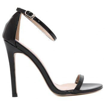 Women Fashion Single Band Ankle Strap Open Toe Sandals - BLACK 41