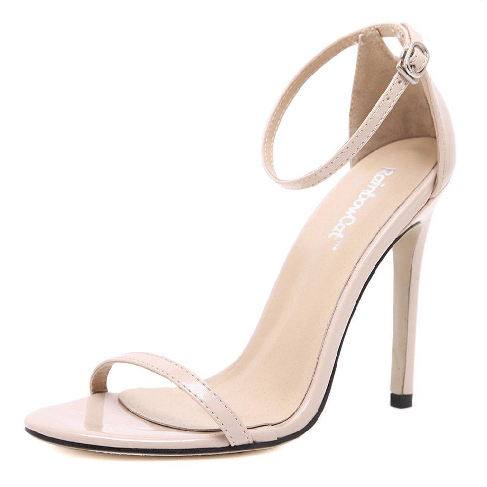 Women Fashion Single Band Ankle Strap Open Toe Sandals - APRICOT 35