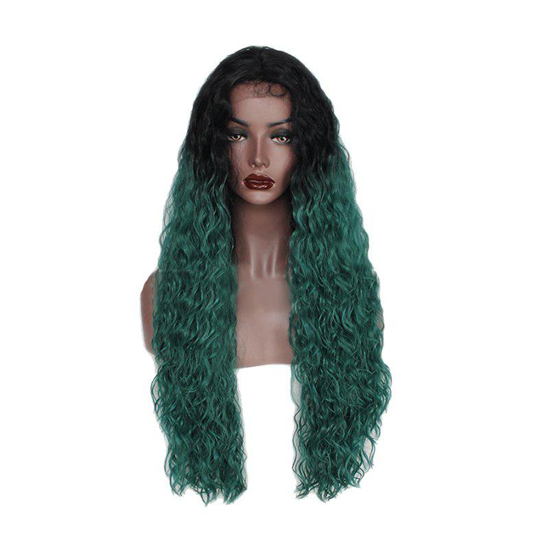 Green Small Roll Chemical Fiber Front Lace Wig - GREENISH BLUE 26INCH