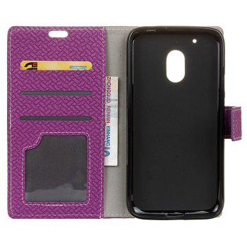 Cover Case for MOTO G4 Play Braided Pattern PU Leather Wallet - VIOLET