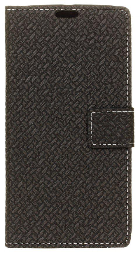 Cover Case for MOTO G5  Braided Pattern PU Leather Wallet - BLACK
