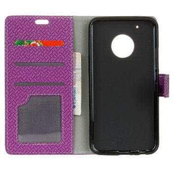 Cover Case for MOTO G5  Braided Pattern PU Leather Wallet - VIOLET
