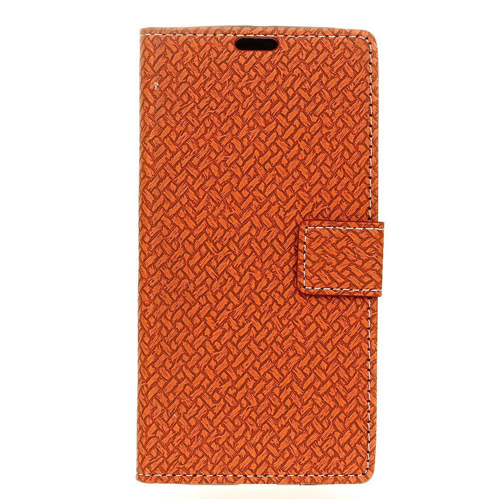 Cover Case for MOTO G5  Braided Pattern PU Leather Wallet - BROWN