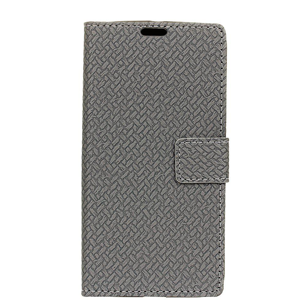 Cover Case for MOTO G5  Braided Pattern PU Leather Wallet - GRAY