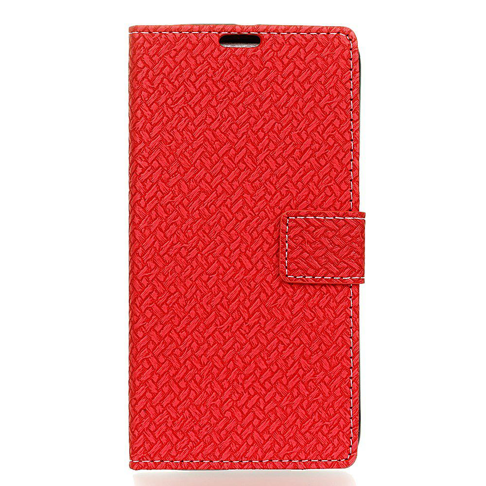 Cover Case for MOTO G5  Braided Pattern PU Leather Wallet - RED