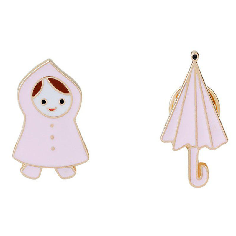 Fresh and Lovely Little Girl/Raincoat Umbrella Brooches - LIGHT PINK