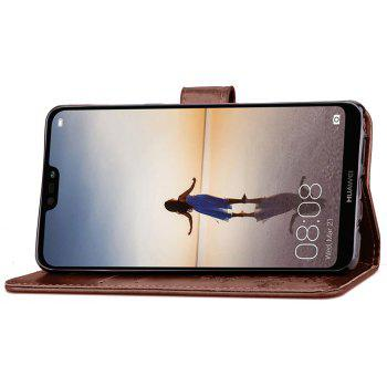 Flip Case for Huawei P20 Lite PU Leahter Back Cover - BROWN