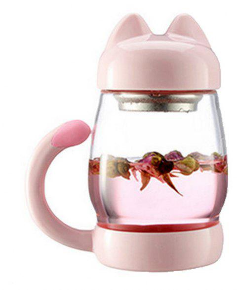 New Cute Cartoon Kitty Cat Mug Glass Cup with Lid Office Creative Student Tea - PIG PINK