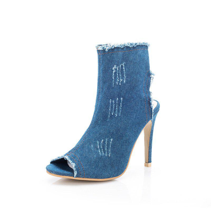 Fine High-Heeled Cowboy SingleFish Mouth Sandals - LIGHT BLUE 39