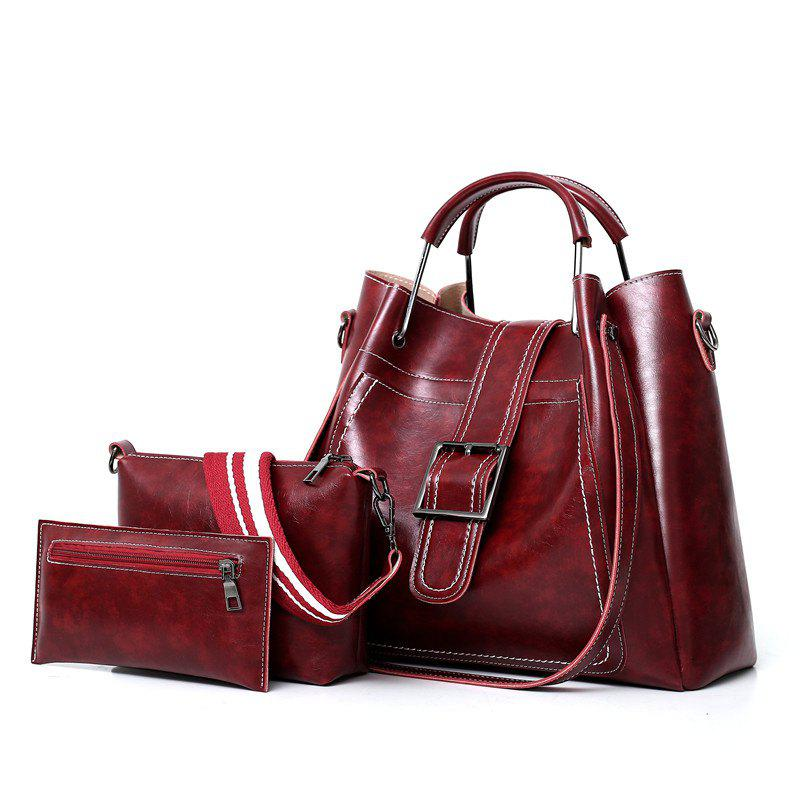 Fashion Three-piece Wild Air Fashion Messenger Bag - RED WINE