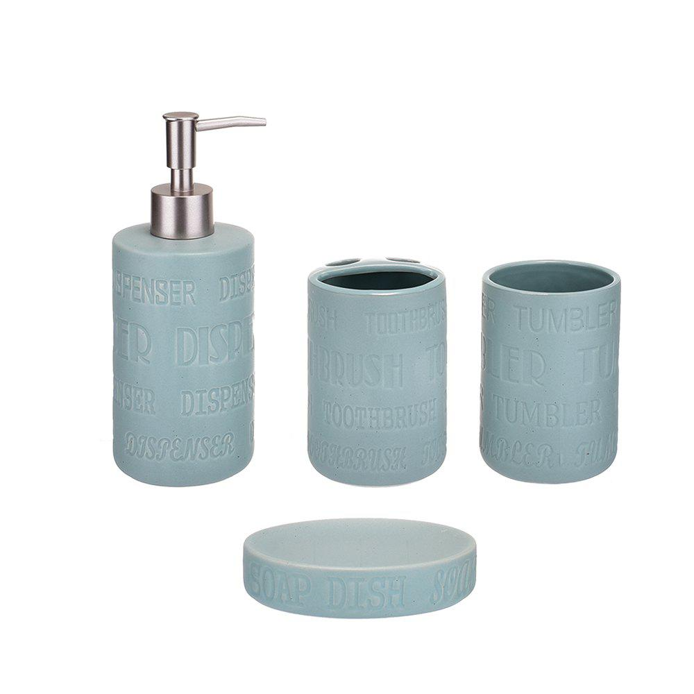2018 Blue Lettering Ceramic Bath and Shower Accessories Ensemble Set ...
