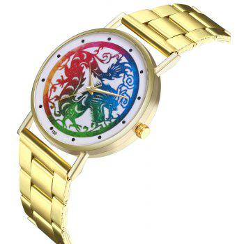 Kingou T26 Fashion Creative Dragon Pattern Gold Steel Quartz Watch - GOLD